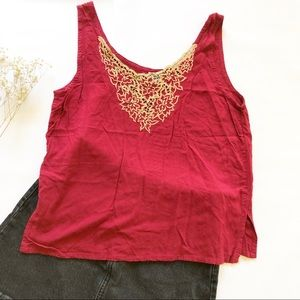 Burgundy red embroidered tank top